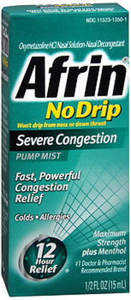 Afrin No Drip Pump Mist Severe Congestion, 12 Hour - 0.5 oz