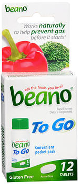 Beano To Go Dietary Supplement Tablets - 12 ct