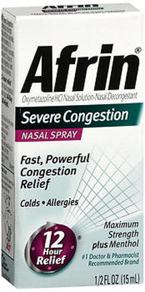 Afrin Severe Congestion Maximum Strength Nasal Spray Plus Menthol - .5 oz