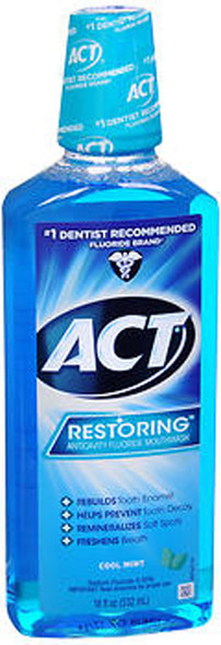 ACT Restoring Anticavity Fluoride Mouthwash Cool Mint - 18 oz
