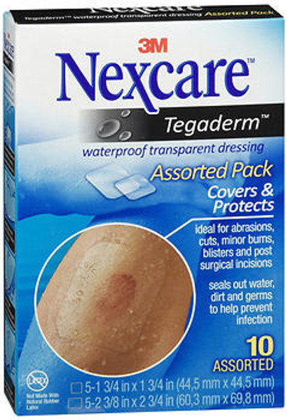 3M Nexcare Tegaderm Waterproof Transparent Dressing Assorted Pack - 10 Dressings