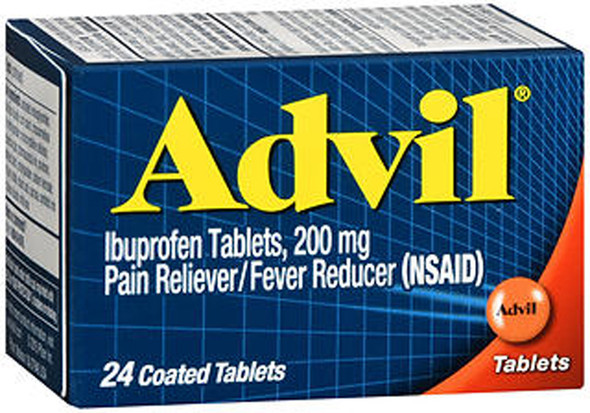 Advil Ibuprofen Pain Reliever/Fever Reducer, 200 mg Coated Tablets - 24 ct