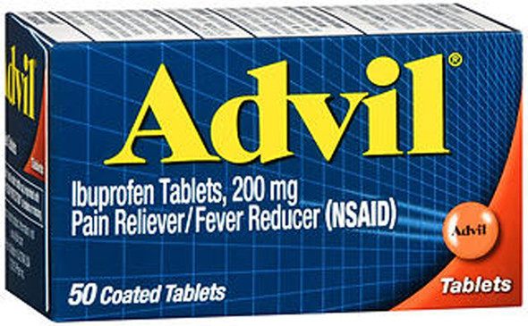Advil Ibuprofen Pain Reliever/Fever Reducer, 200 mg Coated Tablets - 50 ct
