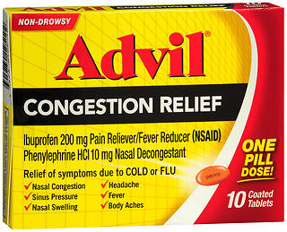 Advil Congestion Relief, Non Drowsy - 10 Coated Tablets