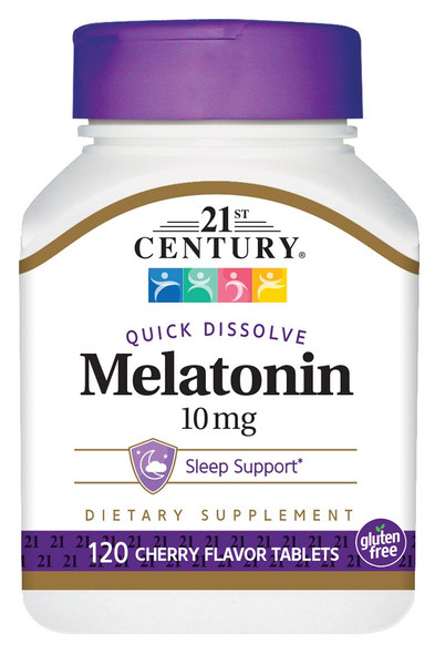 21st Century Melatonin 10 mg Quick Dissolve Tablets Cherry - 120 ct