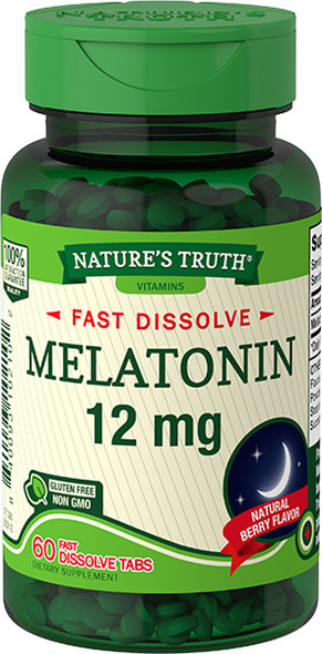 Nature's Truth Melatonin 12 mg Fast Dissolve Tabs Natural Berry Flavor - 60 ct