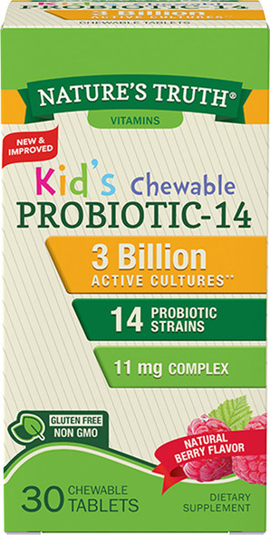 Nature's Truth Kid's Probiotic 13 mg Chewable Tablets Natural Berry Flavor - 30 ct