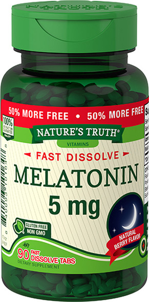 Nature's Truth Melatonin 5 mg Fast Dissolve Tabs Natural Berry Flavor - 90 ct