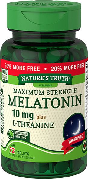 Nature's Truth Melatonin 10 mg plus L-Theanine Tablets Maximum Strength - 72 ct