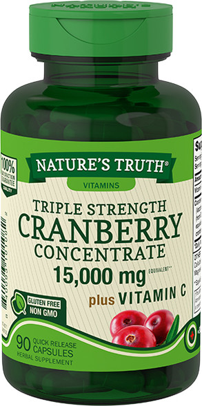 Nature's Truth Ultra Triple Strength Cranberry 15,000 mg Plus Vitamin C Quick Release Capsule  - 90 ct