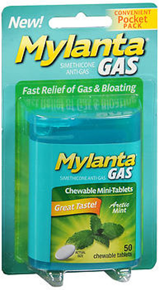 Mylanta Gas Chewable Mini-Tablets Arctic Mint - 50 ct