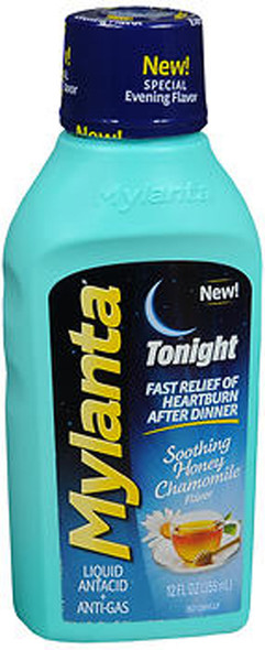 Mylanta Tonight Liquid Antacid + Anti-Gas Soothing Honey Chamomile Flavor - 12 oz