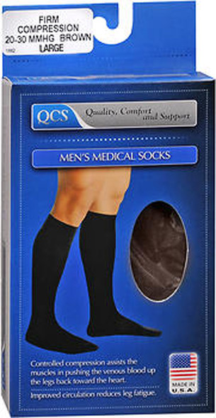 QCS Men's Medical Legwear Firm Brown Large