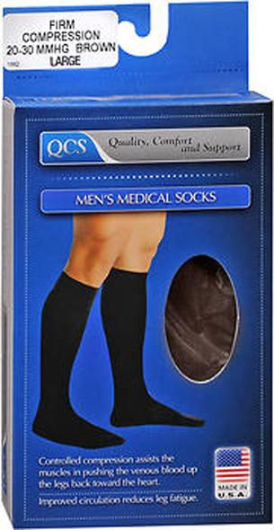 QCS Men's Medical Legwear Firm Brown Large