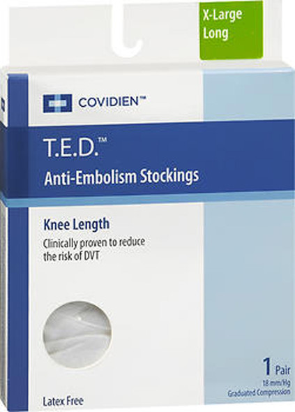 T.E.D. Anti-Embolism Stockings Knee Length Closed Toe White Extra Large Extra Length - 1 pair