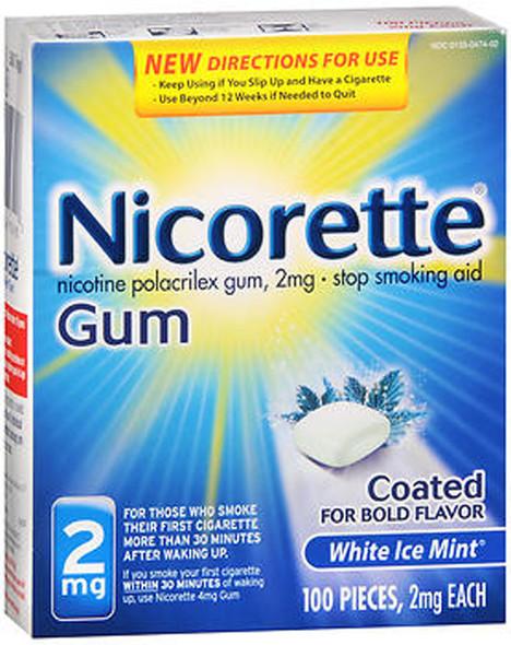 Nicorette 2mg Coated White Ice Mint - 100 ct