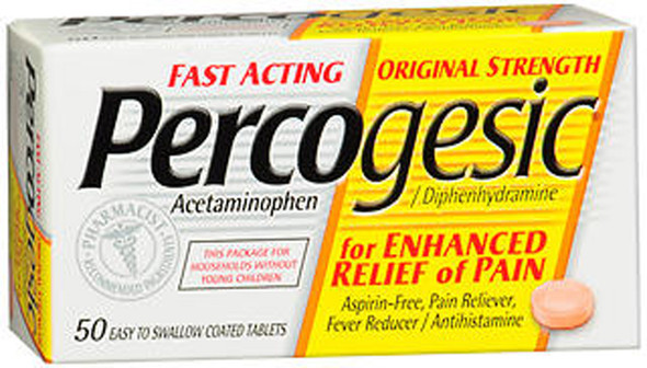 Percogesic Acetaminophen/Diphenhydramine, Original Strength, Coated Tablets - 50 Tablets