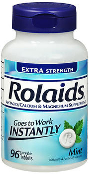 An image of a bottle of Rolaids Extra Strength chewable antacid mint-flavored tablets that you can buy online from The Online Drugstore.