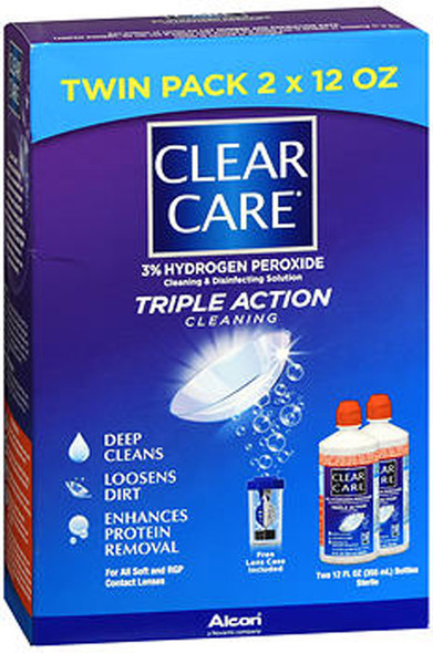 Clear Care 3% Hydrogen Peroxide Cleaning & Disinfecting Solution - 2 x 12 oz