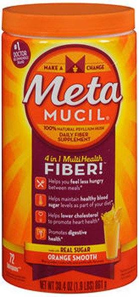 Metamucil 4 in 1 MultiHealth Fiber Powder Orange Smooth - 30.4 oz