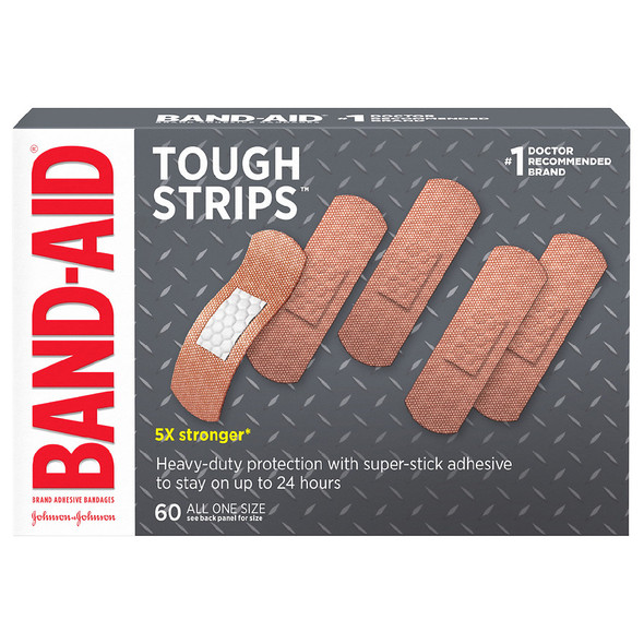 Band-Aid Tough Strips Adhesive Bandages All One Size - 60 ct