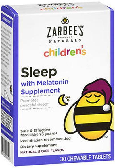 Zarbee's Naturals Children's Sleep Melatonin Supplement Chewable Tablets Grape Flavor - 30 ct