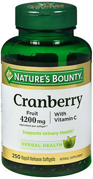 Nature's Bounty Cranberry 4200 mg With Vitamin C Herbal Supplement Softgels - 250 ct