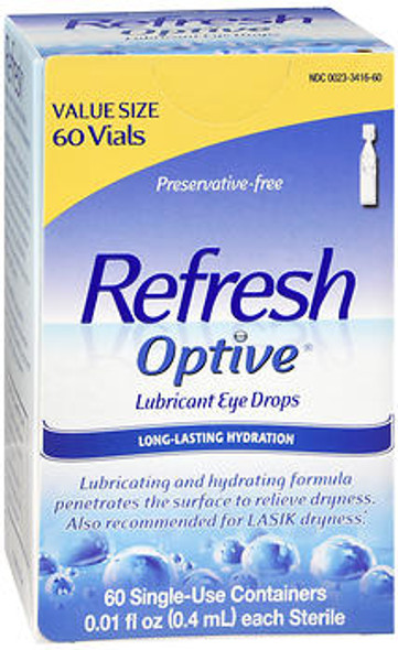 Refresh Optive Lubricant Eye Drops Single-Use Containers - 60 ct