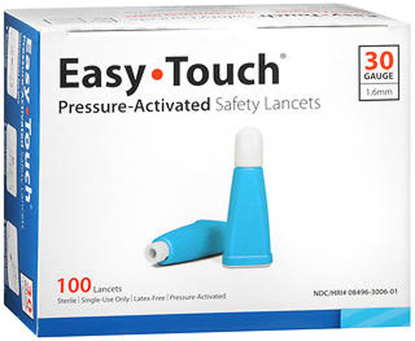 Easy Touch Pressure-Activated Safety Lancets 30 Gauge - 100 ct
