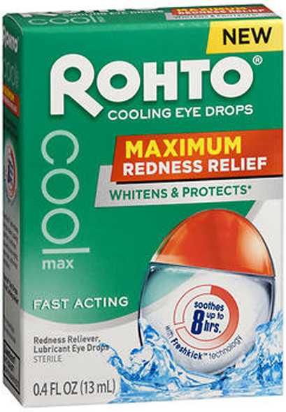 Rohto Cool Max Cooling Eye Drops Maximum Redness Relief - 0.4 fl oz