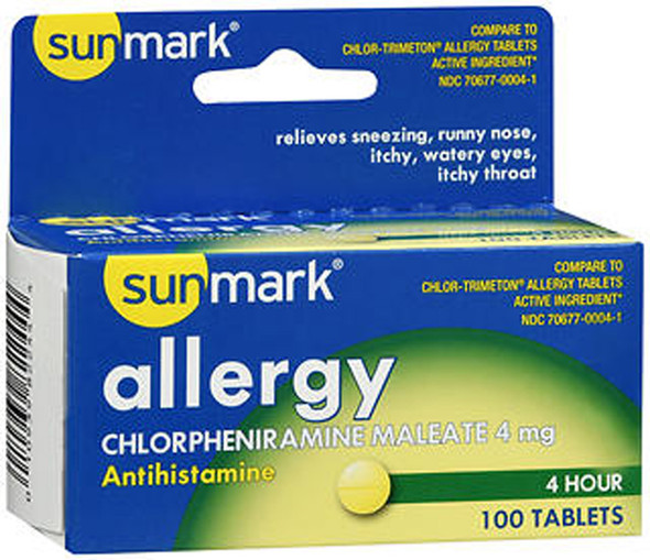 Sunmark 4 Hour Allergy Tablets , 4 mg - 100 ct
