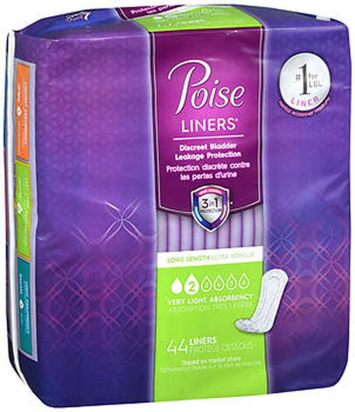 Poise Liners Very Light Absorbency Long Length - 6 pks of 44