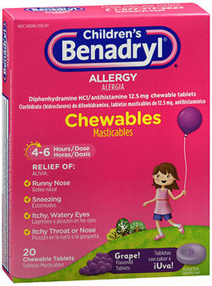 Benadryl Children's Allergy Chewable Tablets Grape Flavored - 20 ct