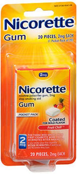 Nicorette Nicotine Polacrilex Gum 2 mg Fruit Chill - 20 ct