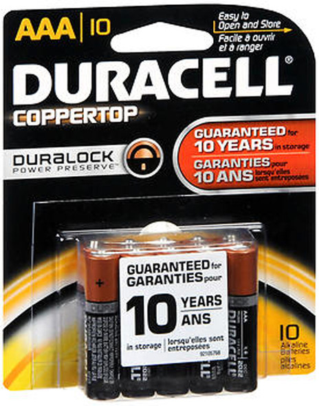 Duracell Coppertop Alkaline Batteries 1.5 Volt AAA - 10 ct