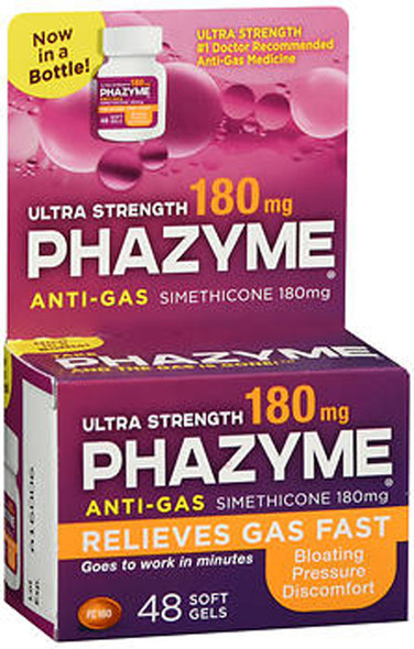 Phazyme Anti-Gas Ultra Strength 180 mg Softgels - 48 ct