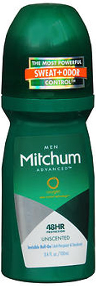 Mitchum Men Advanced Anti-Perspirant & Deodorant Invisible Roll-On Unscented - 3.4 oz
