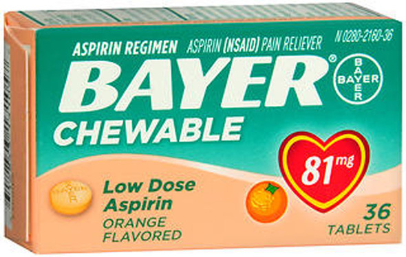 Bayer Chewable Low Dose 'Baby' 81 mg Tablets Orange - 36 ct