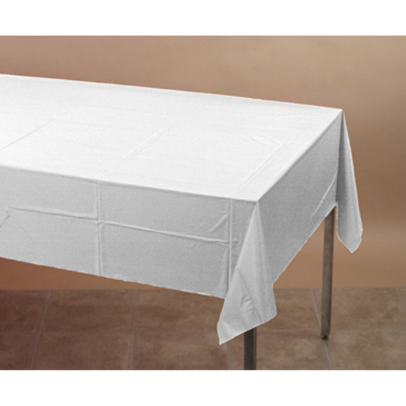 """Solid Color Plastic Tablecover, White, 54X108"""" - 1 Pkg"""