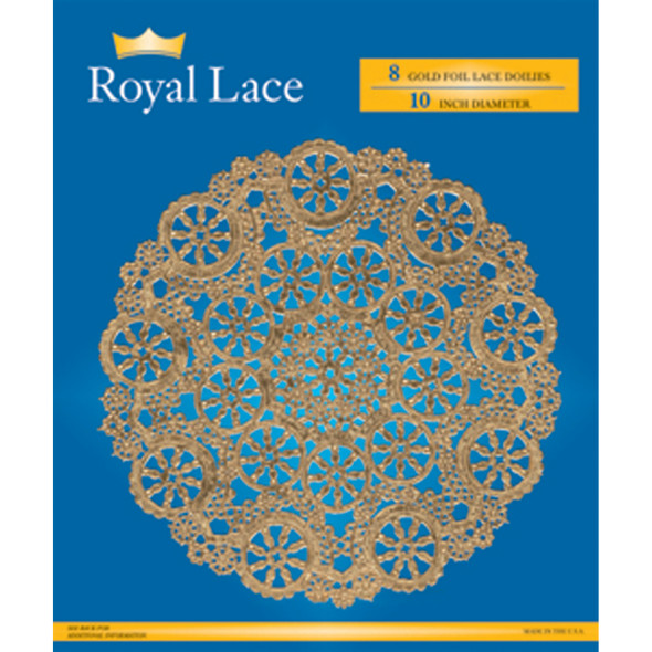 "Royal Lace Foil Lace Round Doilies, Gold, 10"" - 8 ct"