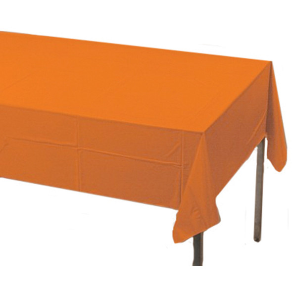 "Solid Color Plastic Tablecover, Sunkiss Orange, 54X108"" - 1 Pkg"