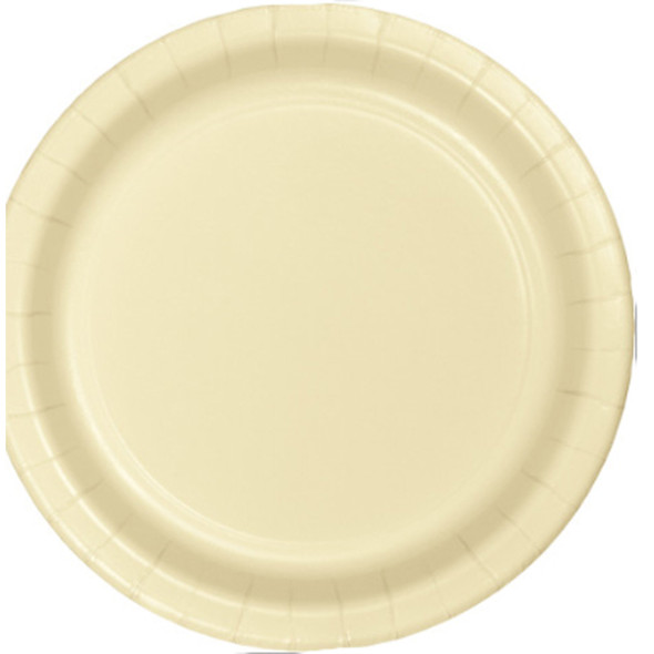"""Solid Color Luncheon Plate, Ivory, 7"""" - 1 Pkg"""