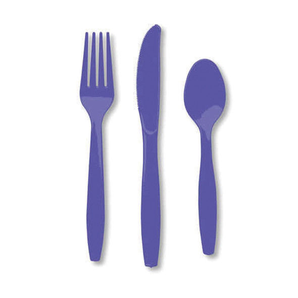 "Solid Color Assorted Cutlery, Purple, 6-7"" - 1 Pkg"