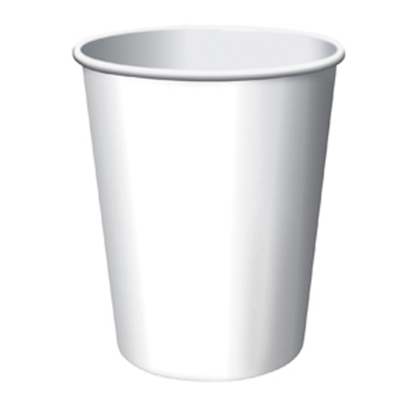 Solid Color Hot/Cold Cups, White, 9 oz - 1 Pkg