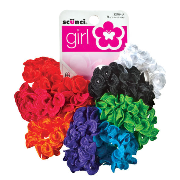 Scunci Girl Ruffle Polytailers, Asst, 8 Pk - 1 Pkg