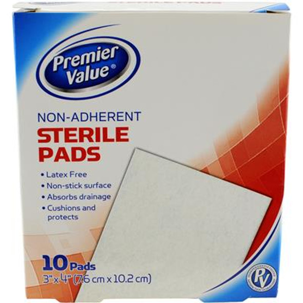 Premier Value Sterile Pads Nonadhere 3X4 - 10ct
