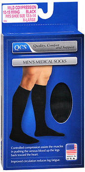 QCS Men's Medical Socks - Black - XL