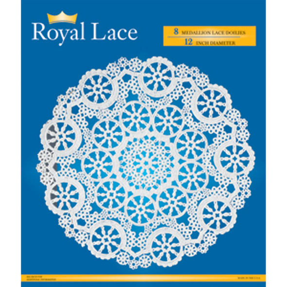 "Royal Lace Doilies, White, 12"" - Pack of 8"