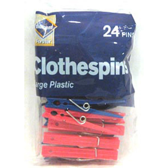 Large Plastic Spring Clothes Pins, 24 Ct - 1 Pkg