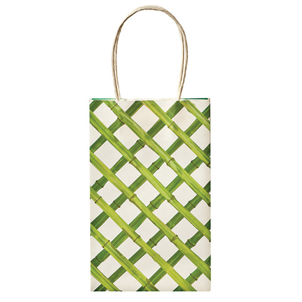 "Cub Gift Bags, Green Basket Weave, 8.5X5.2"" - 1 Pkg"